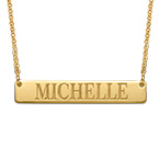 Engraved Bar Necklace in Gold Plating