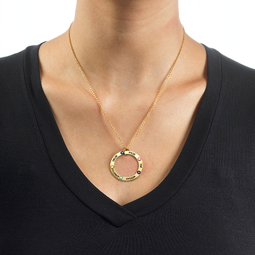 Engraved Birthstone Necklace for Mum - Gold Plated - 1