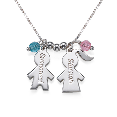 Engraved Birthstone Necklace with Kids Charms