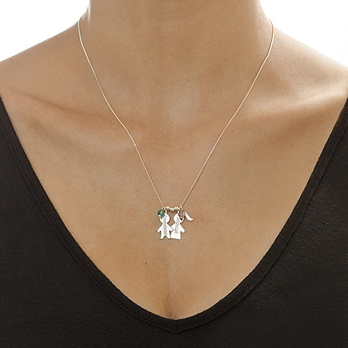 Engraved Birthstone Necklace with Kids Charms - 1