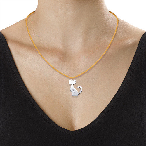 Engraved Cat Necklace - 1