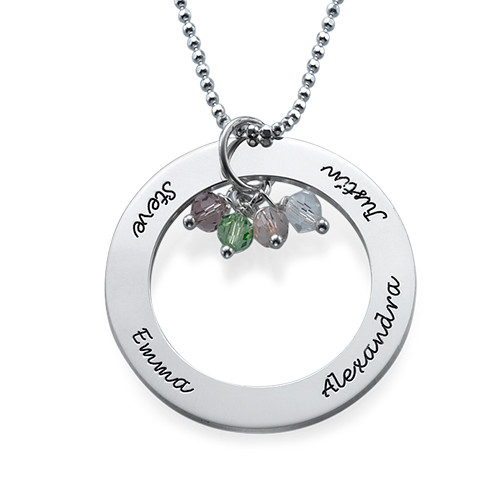 Engraved Circle Necklace with Hanging Birthstones - 1