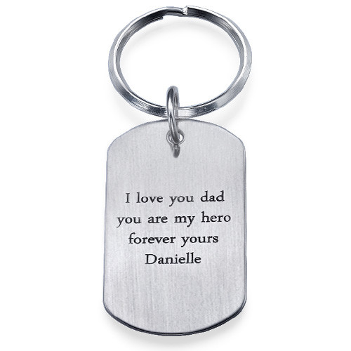 Engraved Dog Tag Keychain