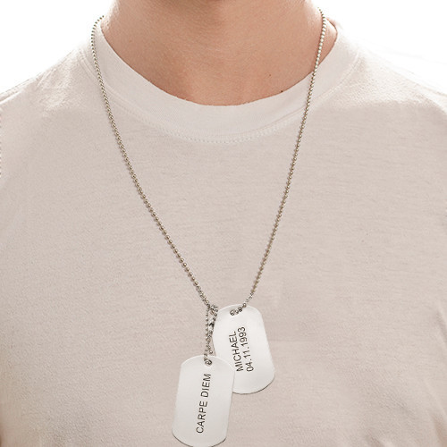 Engraved Dog Tags Necklace in Stainless Steel - 2