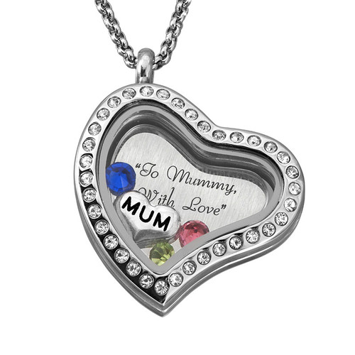 "Engraved Floating Charms Locket - ""For Mum or Grandma"" - 3"