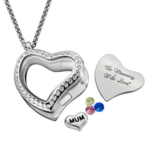 "Engraved Floating Charms Locket - ""For Mum or Grandma"" - 4"