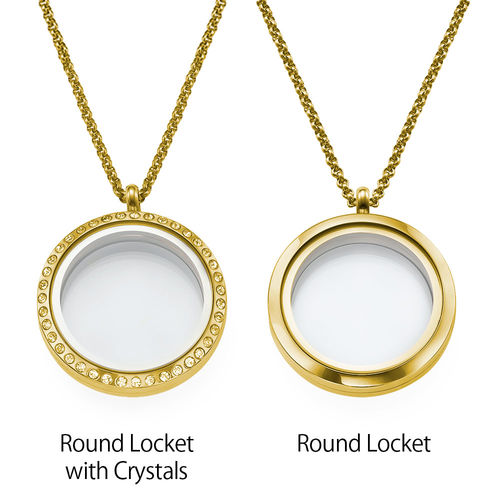 "Engraved Floating Charms Locket - ""For Mum or Grandma"" with Gold Plating - 2"