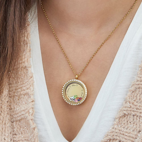 "Engraved Floating Charms Locket - ""For Mum or Grandma"" with Gold Plating - 4"