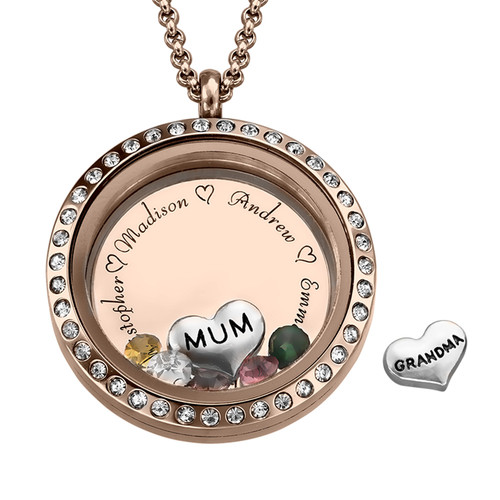 "Engraved Floating Charms Locket with Rose Gold Plating - ""For Mum or Grandma"""