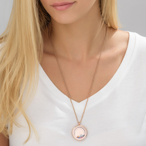 "Engraved Floating Charms Locket with Rose Gold Plating - ""For Mum or Grandma"" - 3"