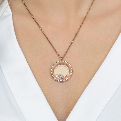"Engraved Floating Charms Locket with Rose Gold Plating - ""For Mum or Grandma"" - 4"