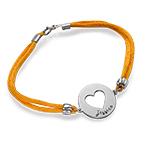 Engraved Heart Bracelet on Satin Cord