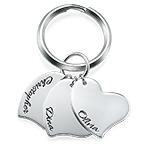 Engraved Heart Charm Keychain