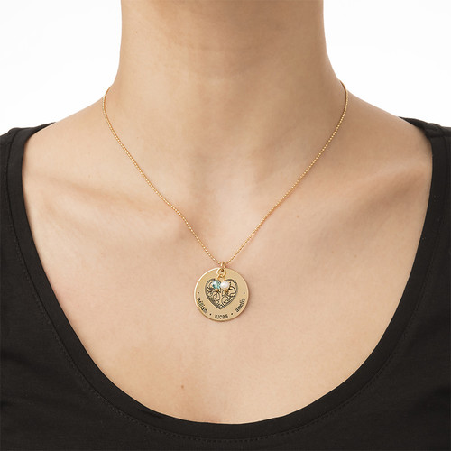Engraved Heart Family Tree Necklace with Gold Plating - 1