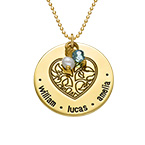 Engraved Heart Family Tree Necklace with Gold Plating