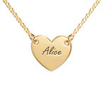 Engraved Heart Necklace in 18ct Gold Plating