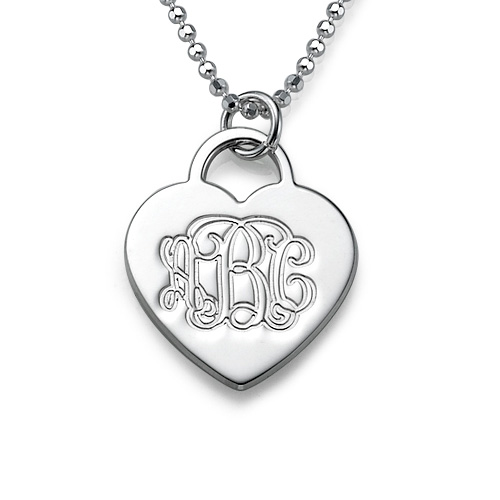 Engraved Heart Necklace with Monogram Initials
