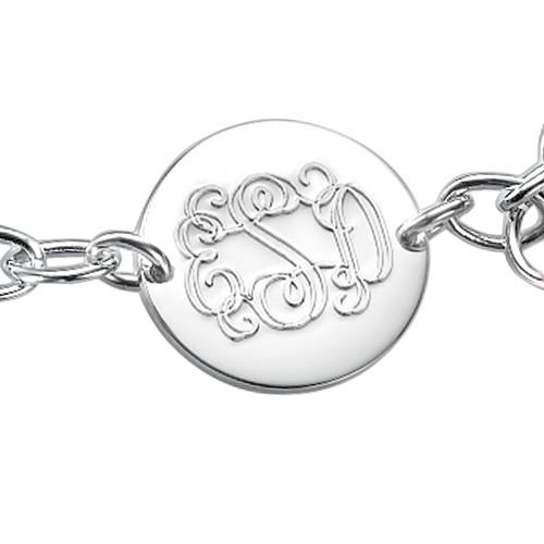 Engraved Monogram Bracelet with Tassel Charm - 1