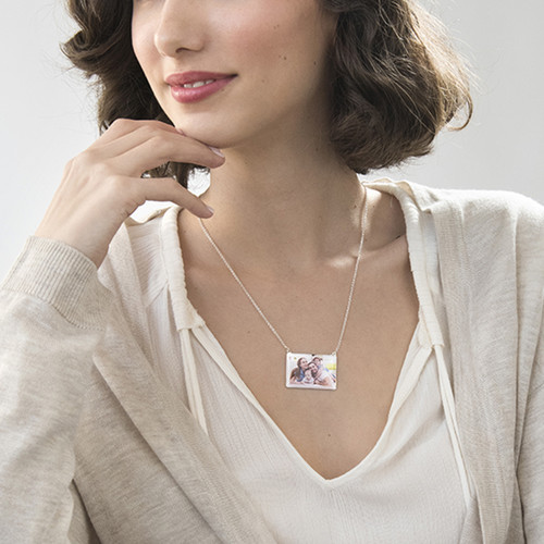 Engraved Photo Necklace - Rectangular Shaped - 2