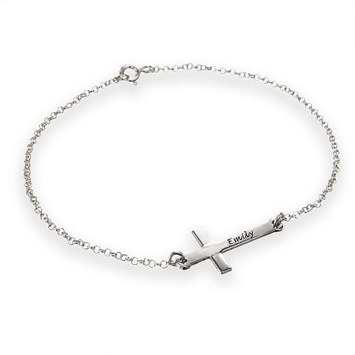 Engraved Side Cross Bracelet - 1