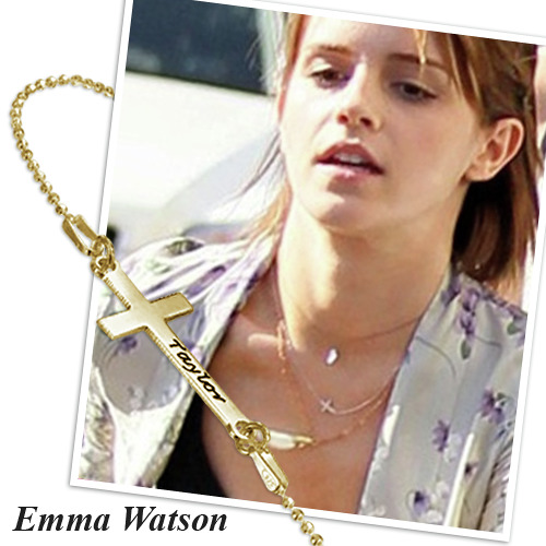 Engraved Sideways Cross Necklace - 18ct Gold Plated - 2