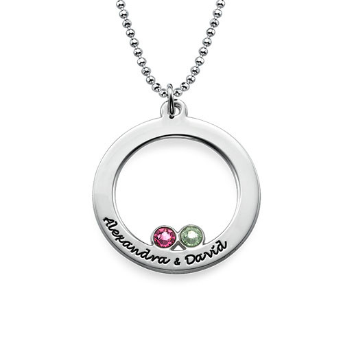 Engraved Silver Circle and Birthstones Necklace - 1