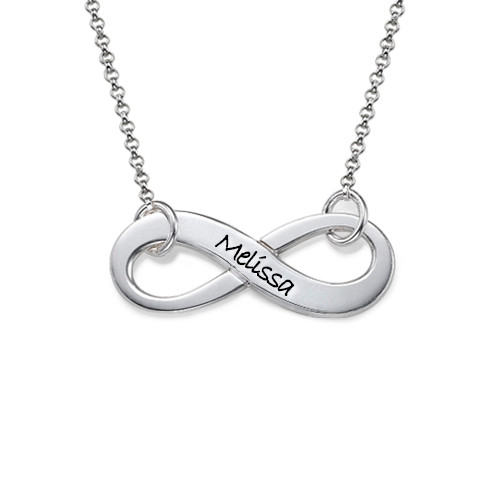 Engraved Silver Infinity Necklace
