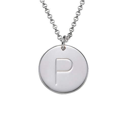 Engraved Silver Initial Charm Pendant