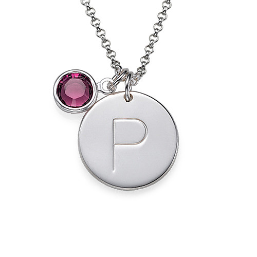 Engraved Silver Initial Charm Pendant - 1