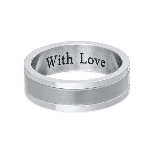 Engraved Stainless Steel Ring for Men - 1