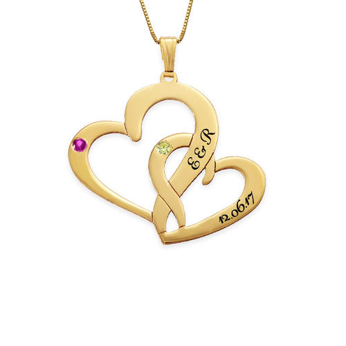 Engraved Two Heart Necklace - 14ct Gold - 1