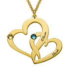 Engraved Two Heart Necklace with Gold Plating