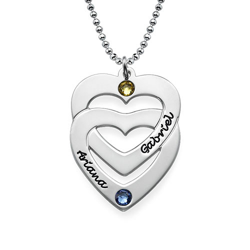Engraved Vertical Heart in Heart Birthstone Necklace