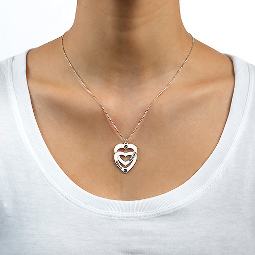 Engraved Vertical Heart in Heart Birthstone Necklace - 1
