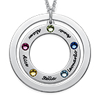 Family Circle Necklace with Birthstones