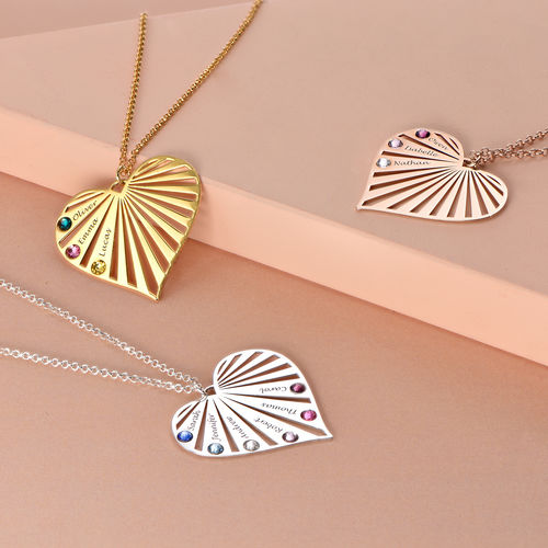 Family Necklace with birthstones in Rose Gold Plating - 2