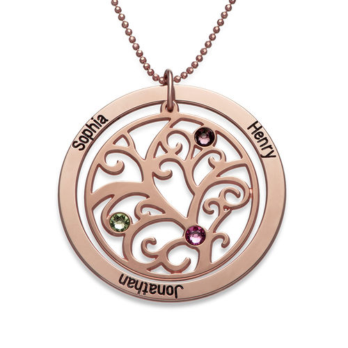 Family tree birthstone necklace with rose gold plating family tree birthstone necklace with rose gold plating aloadofball Choice Image