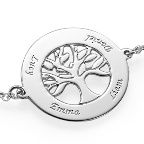 Family Tree Bracelet in Silver with Engraving - 1