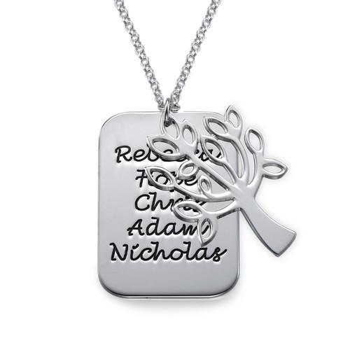 Family Tree Charm Dog Tag Necklace