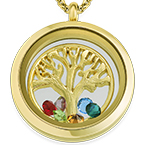 Family Tree Floating Locket with Gold Plating