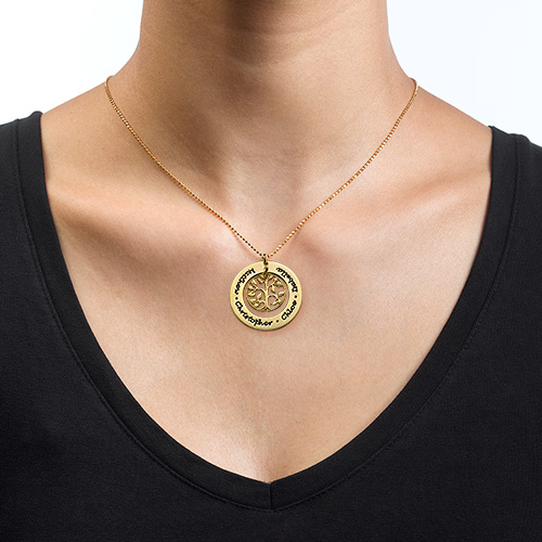 Family Tree Necklace in 18ct Gold Plating - 1