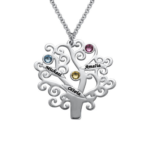 Family Tree Necklace with Birthstones - 1