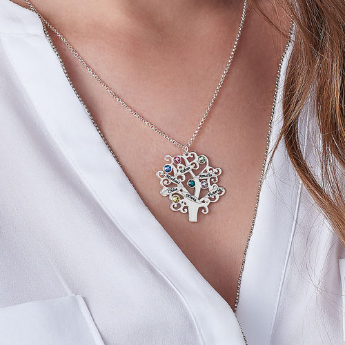Family Tree Necklace with Birthstones - 3