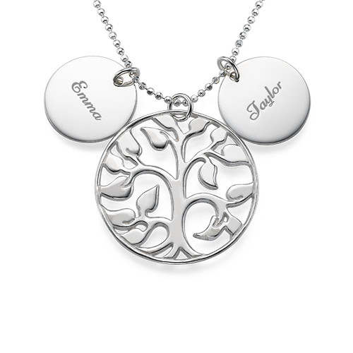 Family Tree Necklace with Engraved Discs