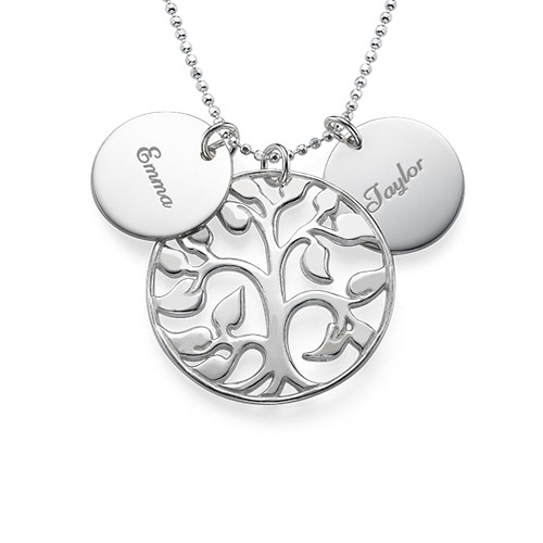 Family Tree Necklace with Engraved Discs - 1