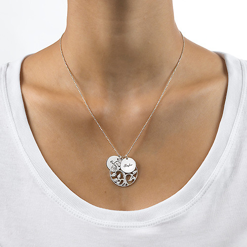 Family Tree Necklace with Engraved Discs - 2