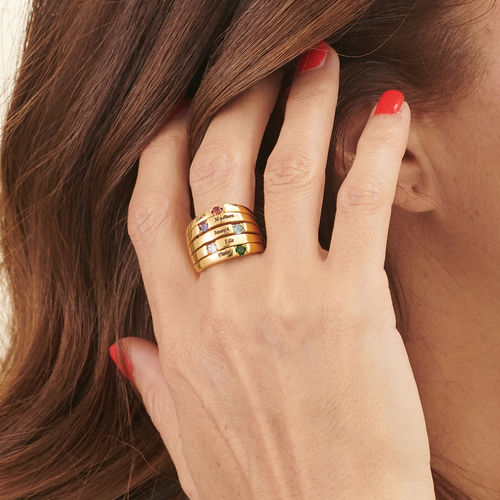 Five Stone Mothers Ring with Gold Plating - Large Size - 3