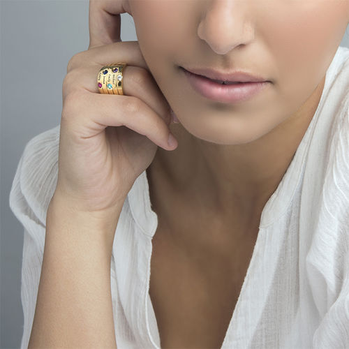 Five Stone Mothers Ring with Gold Plating - Large Size - 4