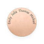 Floating Locket Plate - Rose Gold Plated Disc with Engraved Names