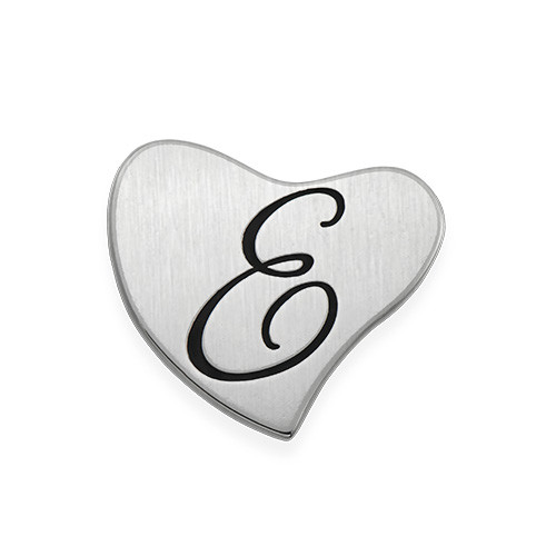 Floating Locket Plate - Silver Heart with Initial